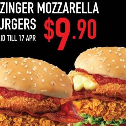 KFC: Flash Screenshot to Enjoy 2 Zinger Mozzarella Burgers at $9.90!