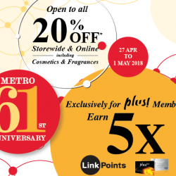 Metro: Enjoy 5 X LinkPoints for NTUC Plus! Members + 20% OFF Storewide & Online Including Cosmetics & Fragrances for All!