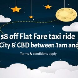 ComfortDelGro: Coupon Code for $8 OFF Taxi Fares from City & CBD Areas at Midnight