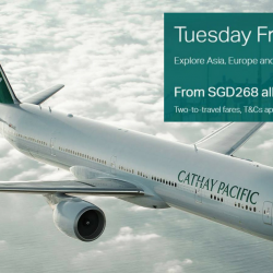 Cathay Pacific Airways: Tuesday Friend Fares with Two-to-Travel Fares From SGD$268 All-In Per Person