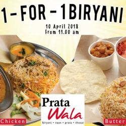 Prata Wala: Enjoy 1-for-1 Biryani at All Outlets on 10 April 2018!
