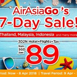 AirAsiaGo: 7-Day Sale with 3D2N Packages from SGD 89/pax!
