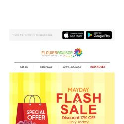 [Floweradvisor] MAYDAY FLASHSALE: Grab Exclusive Offer for Subscribers Only