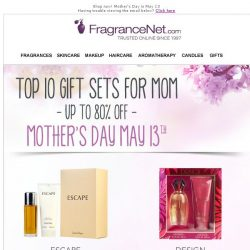 [FragranceNet] They're Here! Top 10 Gift Sets  CELEBRATE MOM