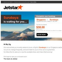 [Jetstar] Don't miss out on your Jetstar flight to Surabaya!
