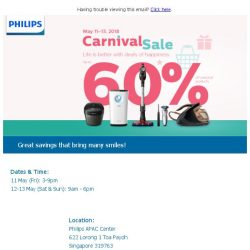 [PHILIPS] Enjoy up to 60%* on your favorite Philips products at May Carnival Sale 2018