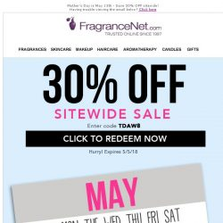 [FragranceNet] 30% OFF all orders - Mother's Day is 10 days away!