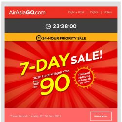 [AirAsiaGo] ▶ AirAsiaGo's 7-Day Sale! | 24-Hour Priority Sale ◀