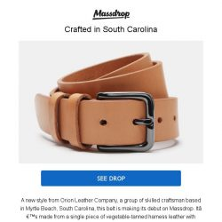 [Massdrop] Orion Harness Leather Belt: Rugged & Made to Last in S. Carolina  for $39.99
