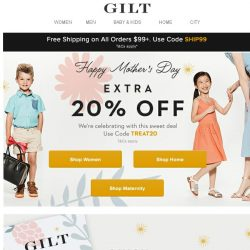 [Gilt] Extra 20% Off for Mother's Day