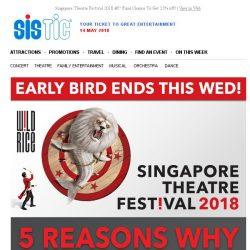 [SISTIC] Singapore Theatre Festival 2018 – Final Chance To Get 25% off!