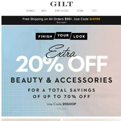 [Gilt] Extra 20% Off Beauty & Accessories (Happy Monday)