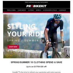 [probikekit] Save up to an EXTRA $30 off SS18 Clothing from Sportful, Santini, adidas, and more!