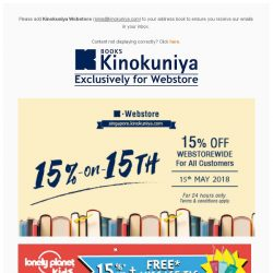 [Books Kinokuniya] ⏰ Enjoy 15% OFF* WEBSTOREWIDE on 15th May 2018, exclusively on Kinokuniya Webstore Singapore!