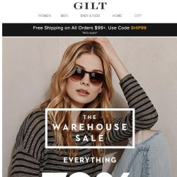 [Gilt] Everything 70% Off: The Warehouse Sale