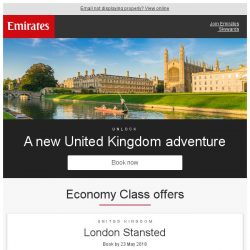 [Emirates] Fly to 7 destinations across the UK from just SGD 959 return