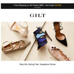 [Gilt] Step Into Spring Feat. Aquazzura Shoes | Up to 50% Off: Karl Lagerfeld Apparel and More Start Now
