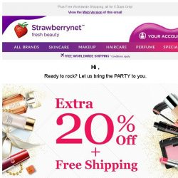[StrawberryNet] , Extra 20% Off your ENTIRE Beauty order! 🎉