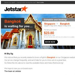 [Jetstar] Don't miss out on your Jetstar flight to Bangkok!
