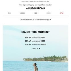[LUISAVIAROMA] Enjoy The Moment: Up to 30% Off new collections