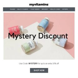 [MyVitamins] Mystery Discount | Save up to an extra 30%