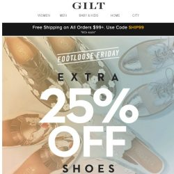 [Gilt] Extra 25% Off Shoes: Footloose Friday