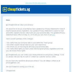 [cheaptickets.sg] We amended our Privacy Statement