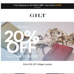 [Gilt] Extra 20% Off: Vintage Luxuries | Shop by Occasion and More Start Now