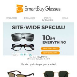 [SmartBuyGlasses] Summer site-wide 10% off special! Apply it to marked down items for extra savings!
