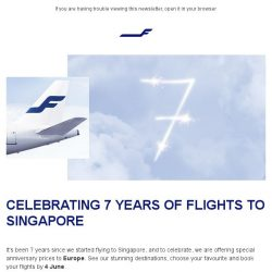 [Finnair] Special anniversary prices to Europe from 699 SGD