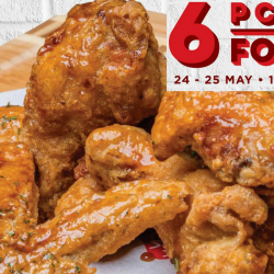 Bonchon: Enjoy 6pcs Wings at only $5 Nett for 2 Days Only!