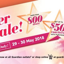 Guardian: 2-day Super Sale with Up to 60% OFF, Up to $50 Vouchers with Purchase & More than 800 Deals!