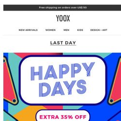 [Yoox]  ⏳ Unmissable: EXTRA 35% off just for today