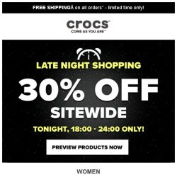 [Crocs Singapore] 【TONIGHT ONLY】 30% off Sitewide‼️