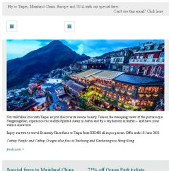 [Cathay Pacific Airways] Two-to-travel fares to Taipei and beyond from SGD408 all-in