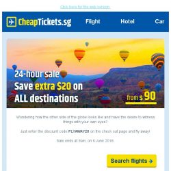 [cheaptickets.sg] 💰Save $20 on flights | Book within 24 hours | Fly away anytime, anywhere