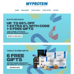 [MyProtein] 66% Off, 6 Gifts, Extra 6% Off - Ends Soon!