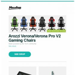 [Massdrop] Arozzi Verona/Verona Pro V2 Gaming Chairs, WOLF Stackable Watch Tray, Visconti Van Gogh Collection Fountain Pen and more...