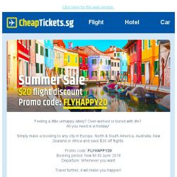 [cheaptickets.sg] Hi there, have summer fun with our sale |$20 flight discount
