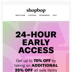 [Shopbop] 24-hour early access: Up to 70% off with code SCORE18