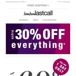 [Last Call] AMAZING 1-day shopping opp: extra 60% off