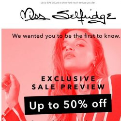 [Miss Selfridge] Girl! VIP Sale preview, just for you ❤️