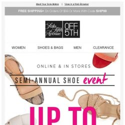 [Saks OFF 5th] LOW INVENTORY alert for your R13 item! + Semi-Annual Shoe Event starts NOW! Up to 70% OFF 👠👡