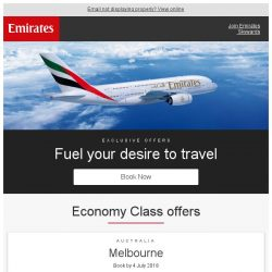[Emirates] Fuel your desire to travel from just SGD 599 return