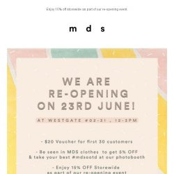 [MDS] Westgate Re-opening 23rd June, 11am.
