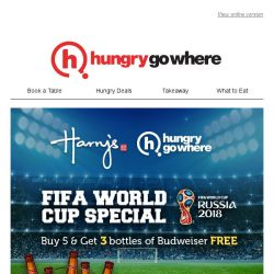 [HungryGoWhere] Catch 2018 FIFA World Cup Live at Harry's - Enjoy 8 Bottles of Budweiser for the Price of 5!