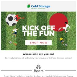 [Cold Storage] ⚽Gear up for the biggest sporting event of the year and scoop up your food favourites!⚽