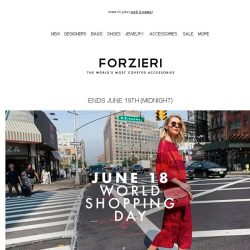 [Forzieri] 3 days exclusive | World Shopping Day (JD anniversary)