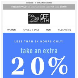 [Saks OFF 5th] Take an extra 20% OFF American designers w/ code USA