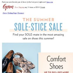 [6pm] The Summer Sole-Stice Sale is Here! WHA?!